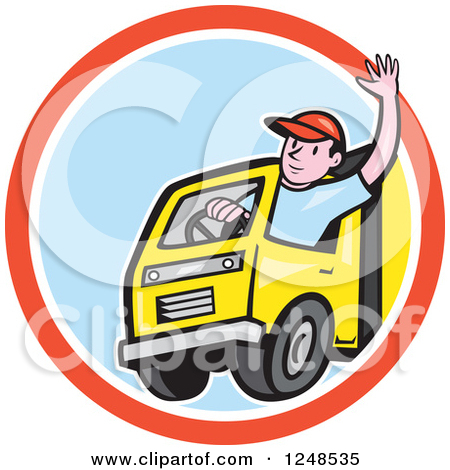 Clipart of a Retro Truck Driver and Blue Rays Background or.