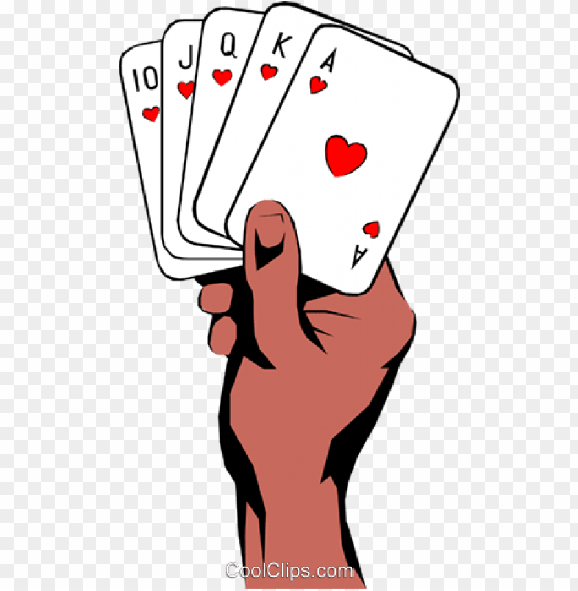 hands holding playing cards royalty free vector clip.