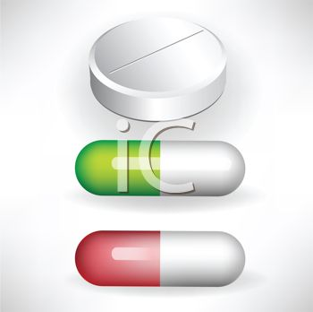 Royalty Free Clip Art Image: Tablet and Capsules.