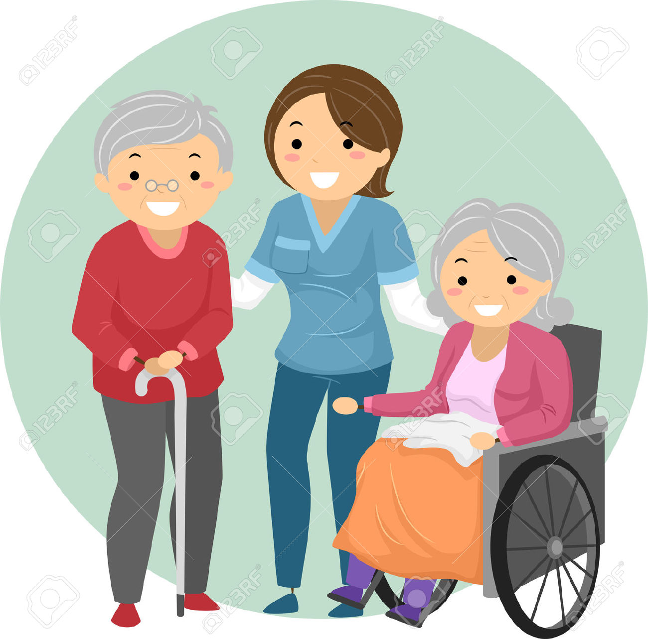 Free clipart images lady caring for elderly person.