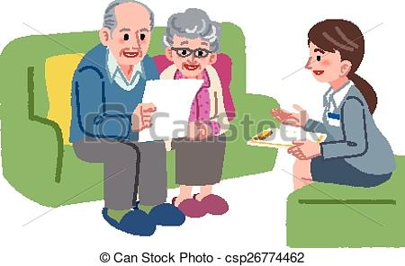Clip Art Vector of Elderly couple meeting with Geriatric care.