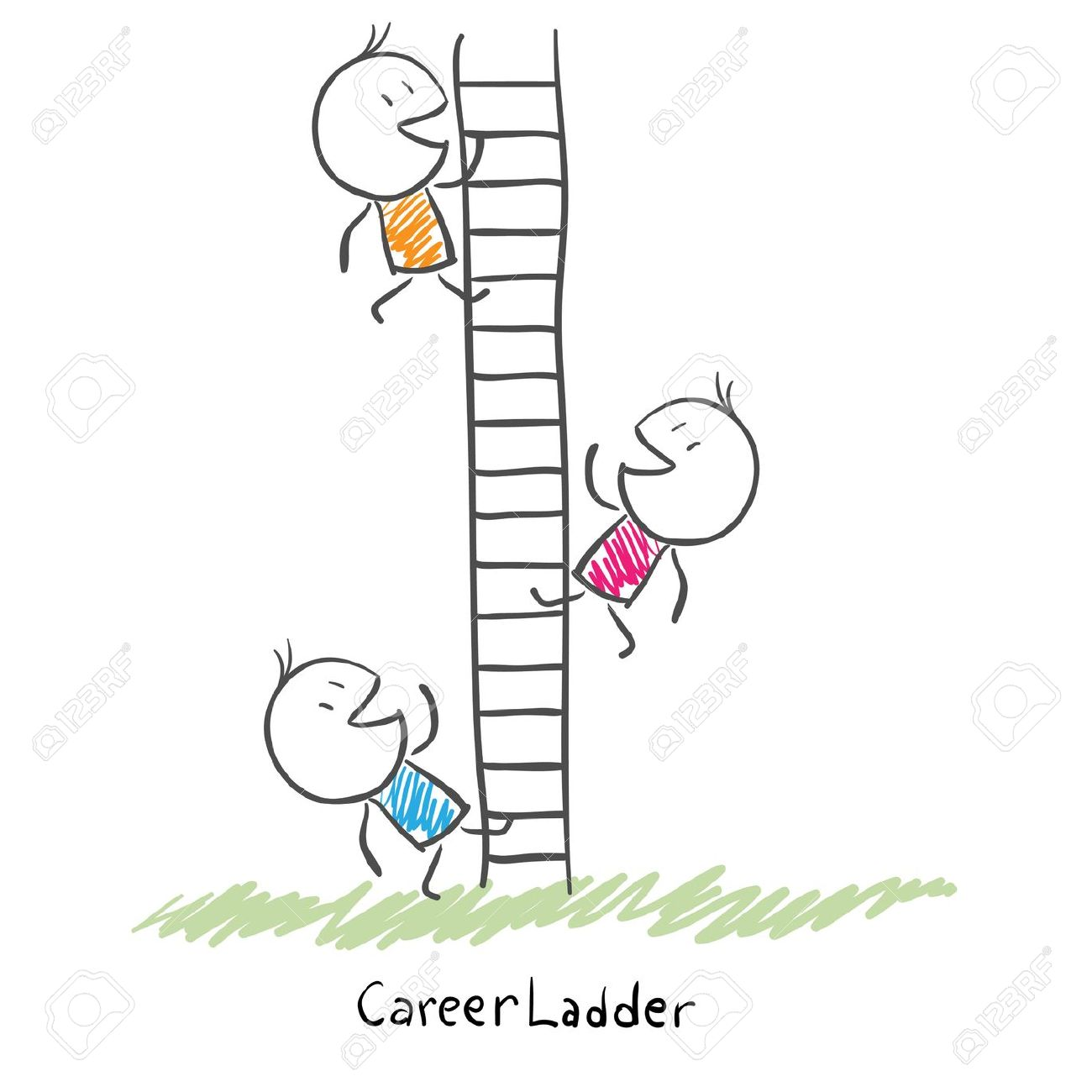 Business People Climbing Up The Corporate Ladder Conceptual.