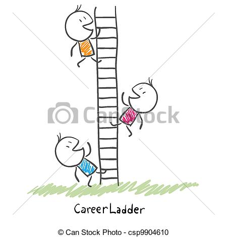Vector Clipart of Business people climbing up the corporate ladder.