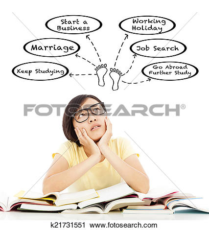 Stock Photography of pretty student girl thinking about future.