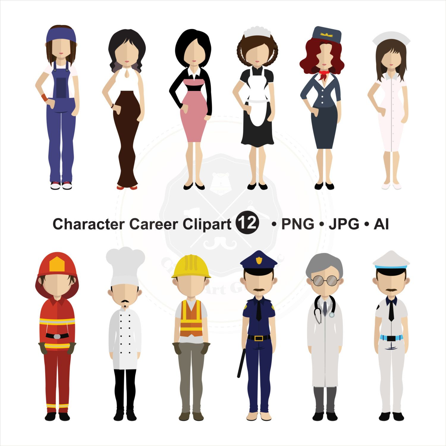 Character Career Clipart, People Clipart, character clipart,,digital.