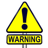 Clip Art of yellow caution sign warning people to be careful on.