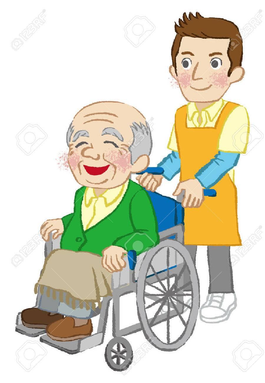Wheelchair senior men and Caregiver white background.