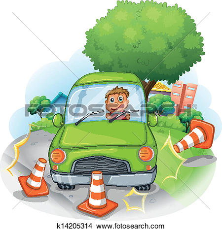 Clipart of A violet car bumping the big tree at the road k14510281.