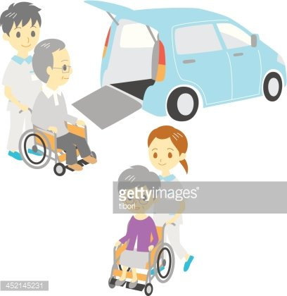 old people in wheelchairs, Adapted Vehicle, carers Clipart.