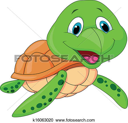 Clipart of Cute turtle cartoon on inflatable r k16962571.