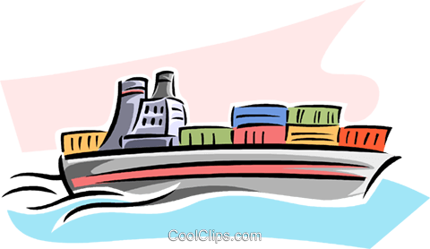 cargo ship Royalty Free Vector Clip Art illustration.
