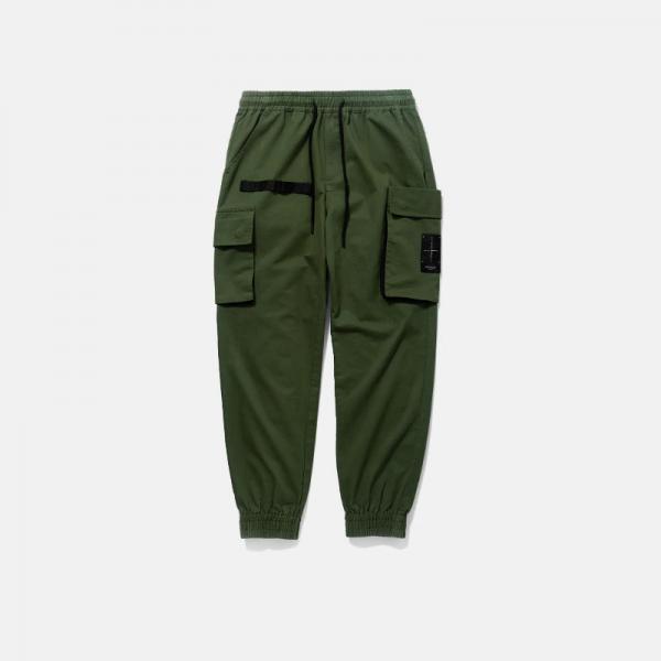Men Solid Pockets Casual Pants.