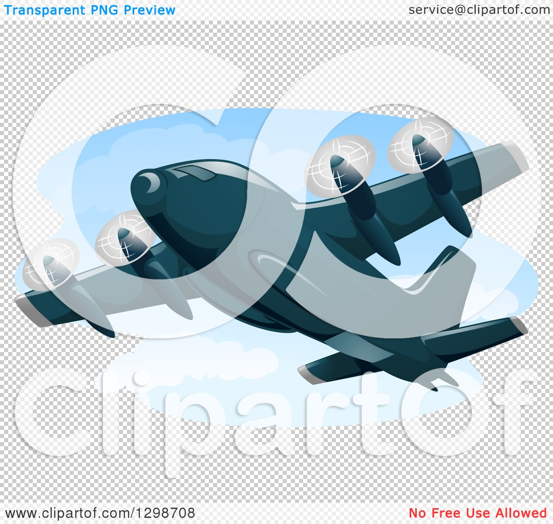 Clipart of a Cargo Plane in Flight.