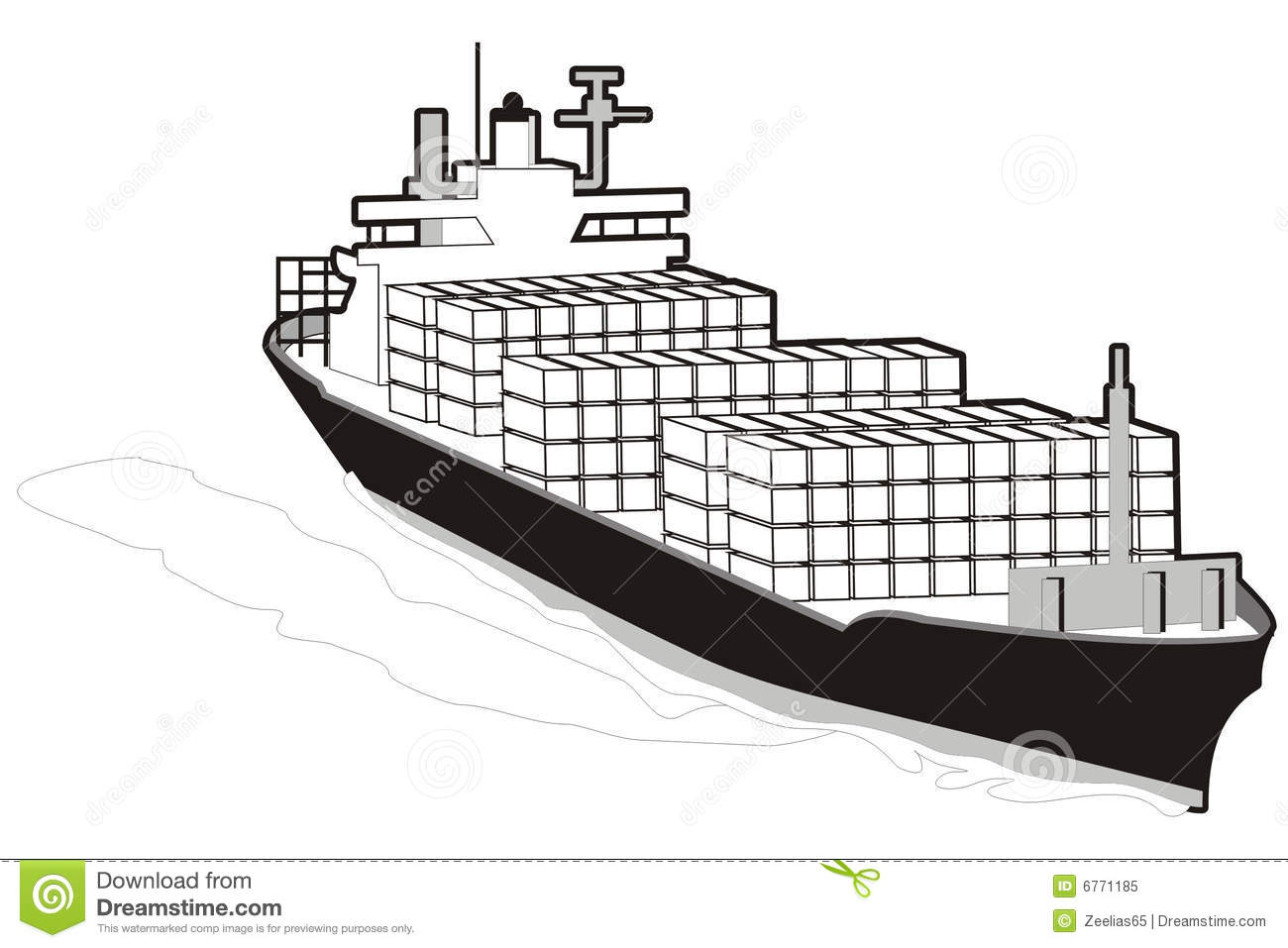 Cargo ship clipart black and white.