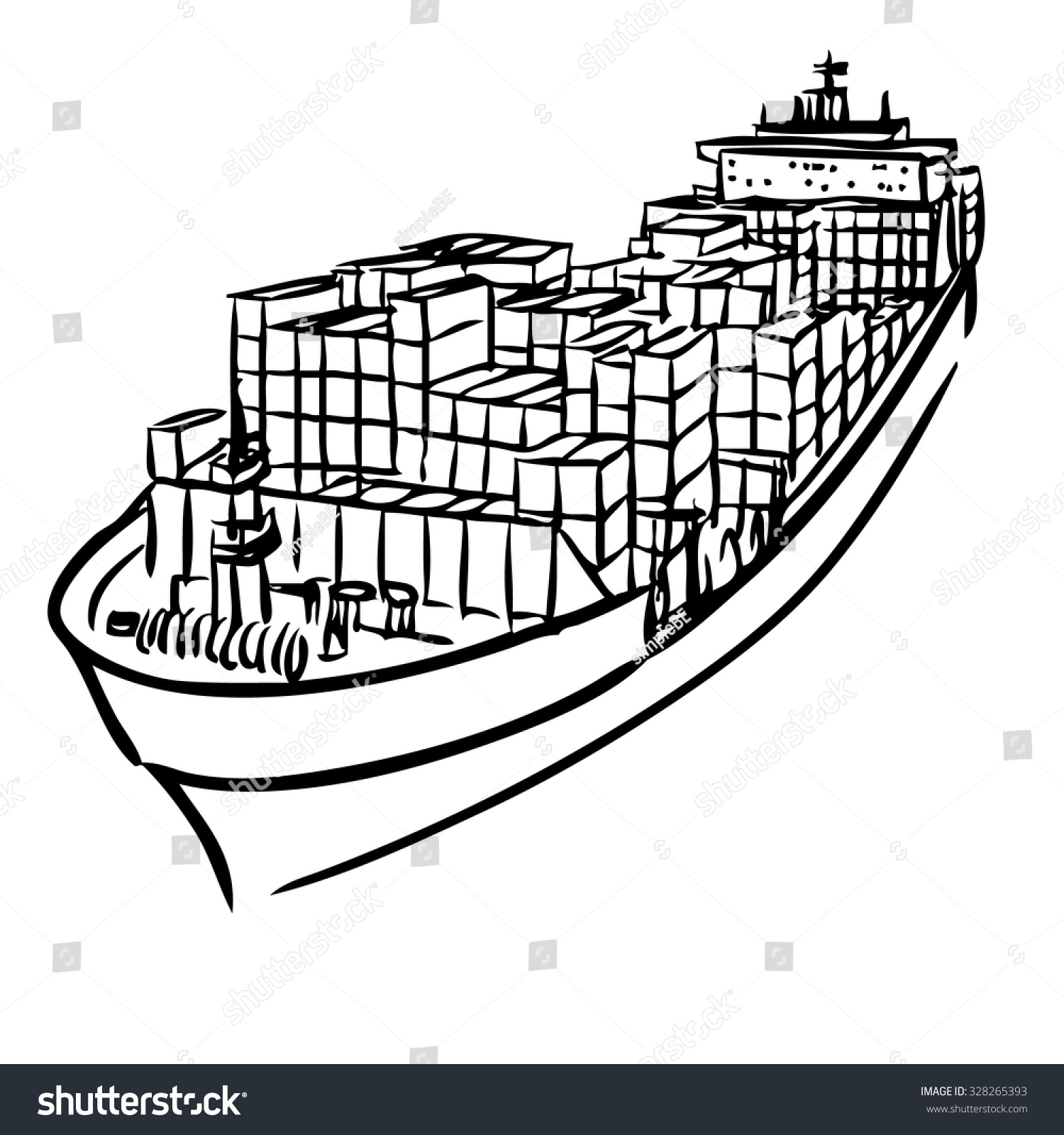 Cargo ship clipart black and white 7 » Clipart Station.