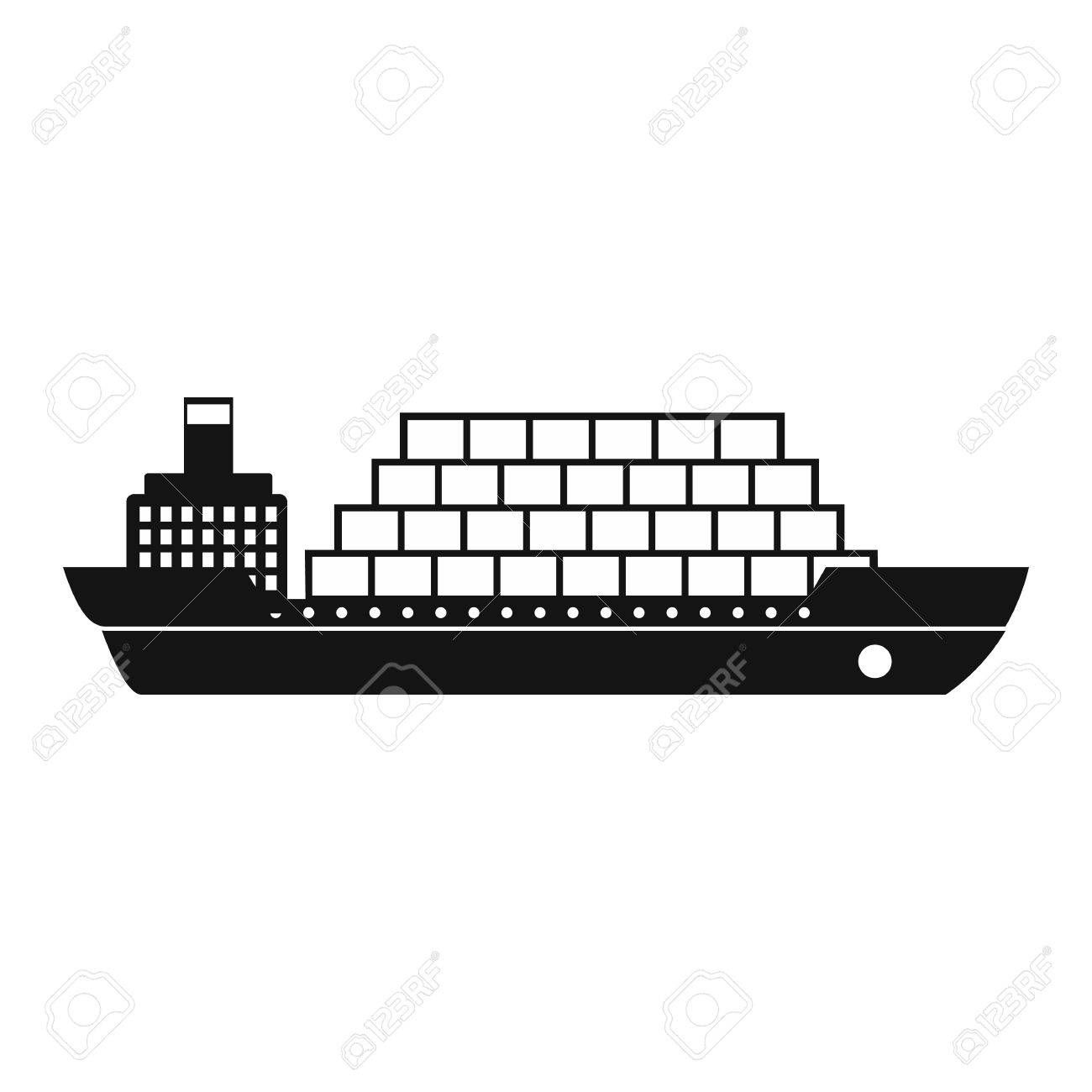 Cargo ship flat black simple icon on a white background.