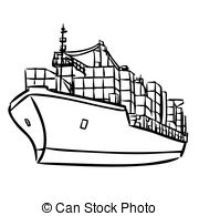 Cargo ship clipart black and white 1 » Clipart Station.