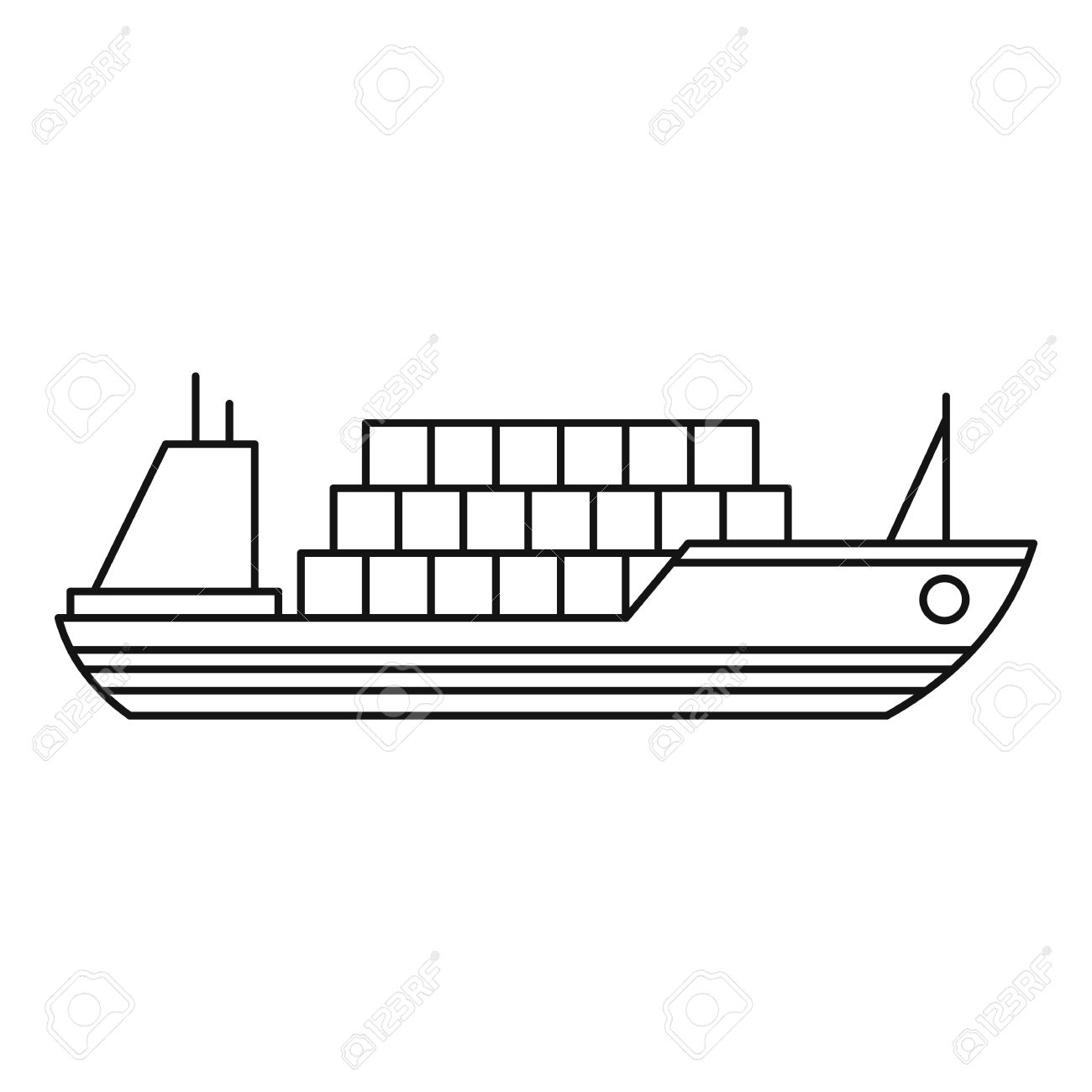 Ship with cargo icon. Outline illustration of cargo ship vector...