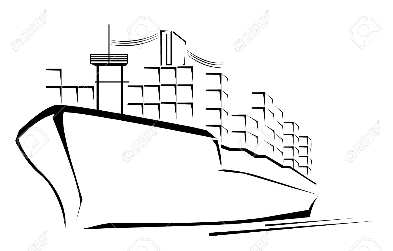 Cargo ship clipart black and white 4 » Clipart Station.