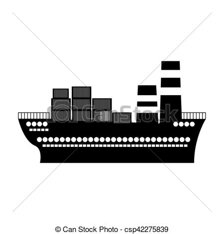 black silhouette container cargo ship.