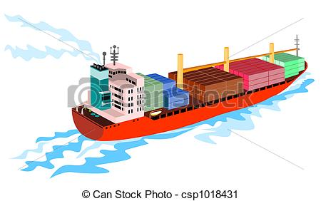 Clipart of Container ship.