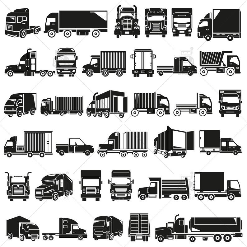 American Cargo Truck Clipart, Truck Silhouette, Transportation and Shipping  Truck Vector, instant download.