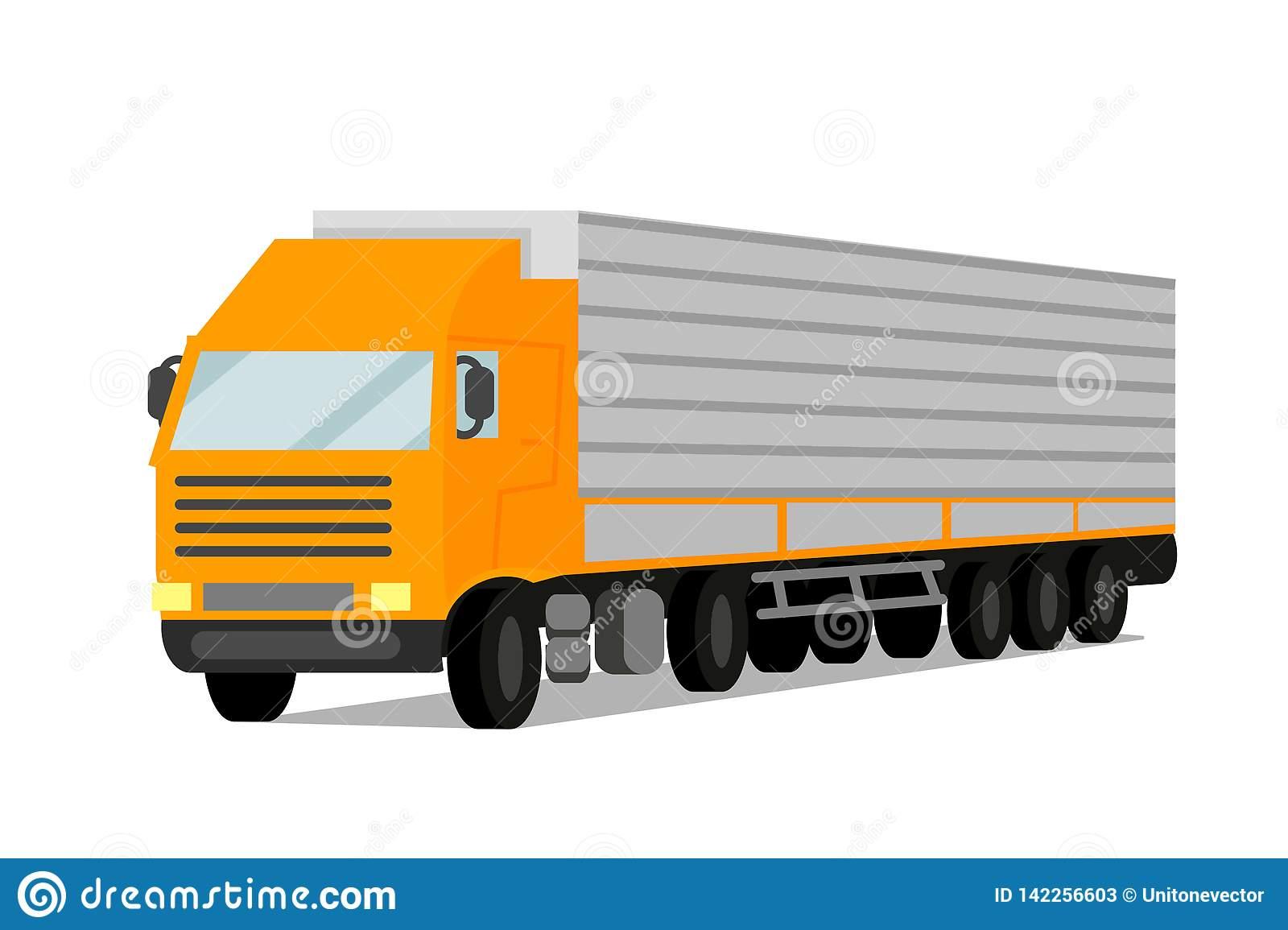 Tractor Cargo Trailer Flat Vector Illustration Stock Vector.