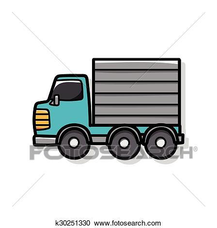 Cargo truck doodle Clipart.