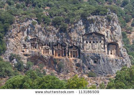 Kaunian Rock Tombs From Dalyan, Ortaca, Turkey Stock Photo.