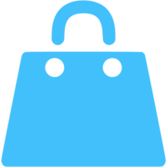 Caribbean Blue Shopping Bag Icon Free Clipart.