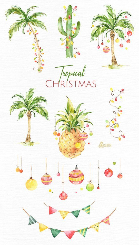 Tropical Christmas. Watercolor holiday clipart, palms.