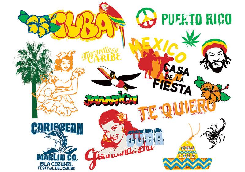 Caribbean Culture Elements Vector.