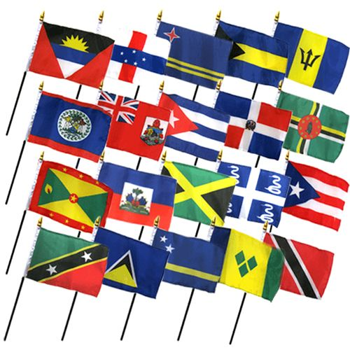 (4x6in) Set of 20 Caribbean Stick Flags.