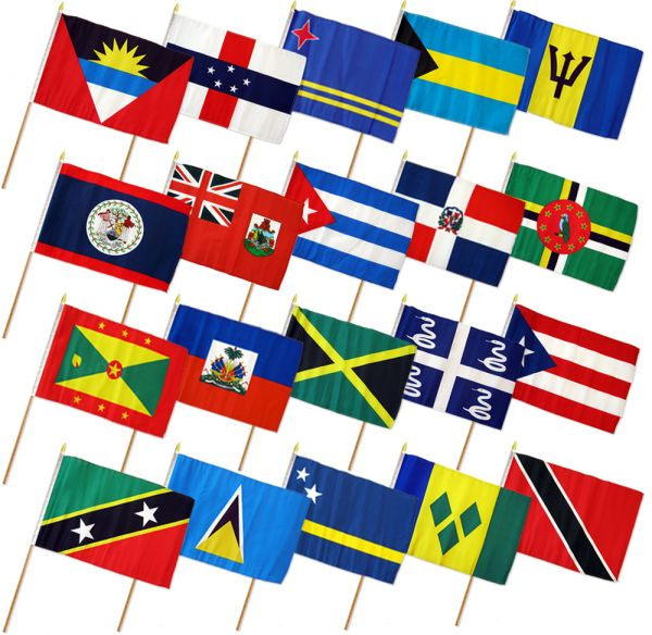 (12x18in) Set of 20 Caribbean Stick Flags.