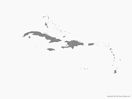Vector Map of Caribbean Islands with Countries.
