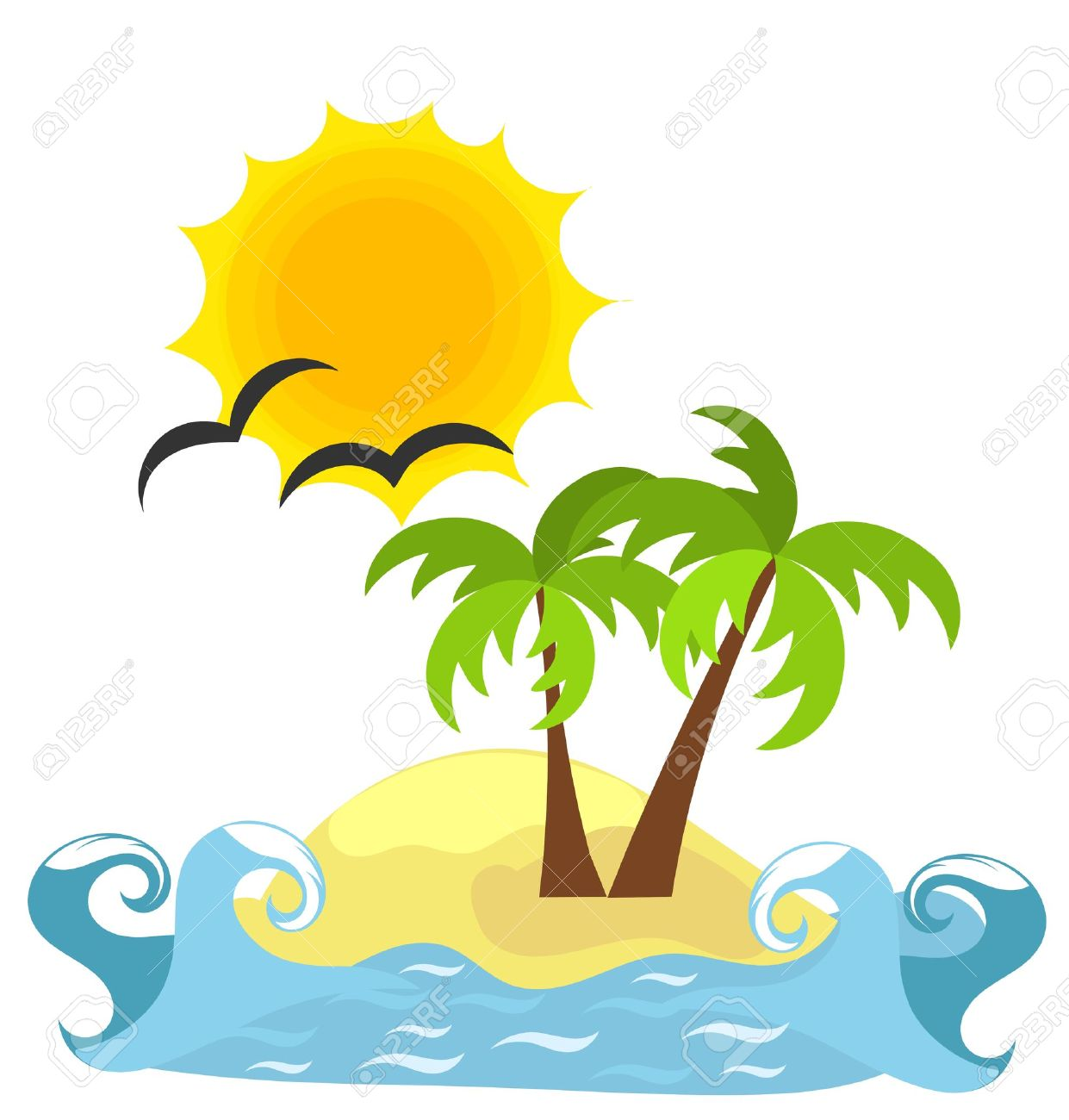 Desert Island And Sea. Royalty Free Cliparts, Vectors, And Stock.