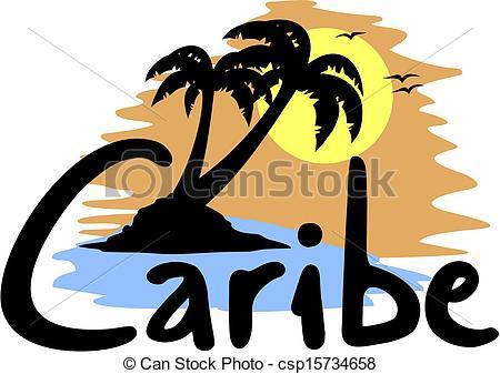 Clipart Vector of Caribe beach.