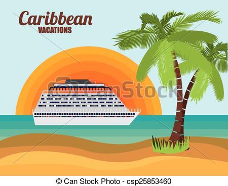 Clip Art de vectores de Caribe, diseño, crucero.