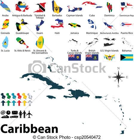 Ilustraciones vectoriales de mapa, Caribe, político.