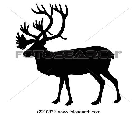 Clipart of caribou black white k18227863.