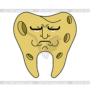 Sad Tooth with hole. sick tooth. Caries and pulpiti.