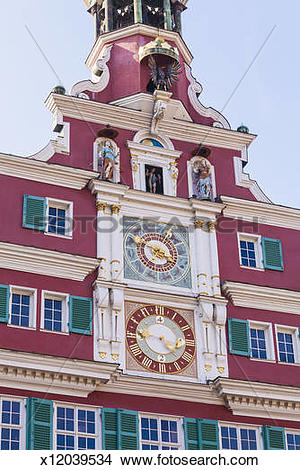Stock Photo of Carillon at the Town Hall in Esslingen, Germany.