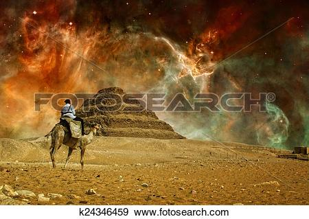 Stock Photograph of Step pyramid and Carina Nebula (Elements of.