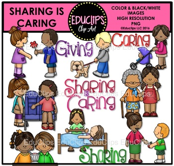 Sharing Is Caring Clip Art Bundle {Educlips Clipart}.