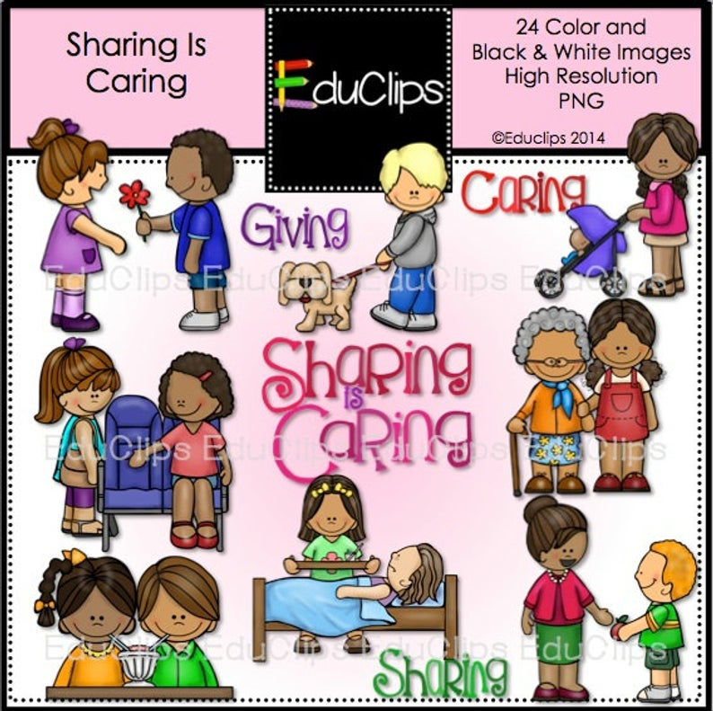 Sharing Is Caring Clip Art Bundle.