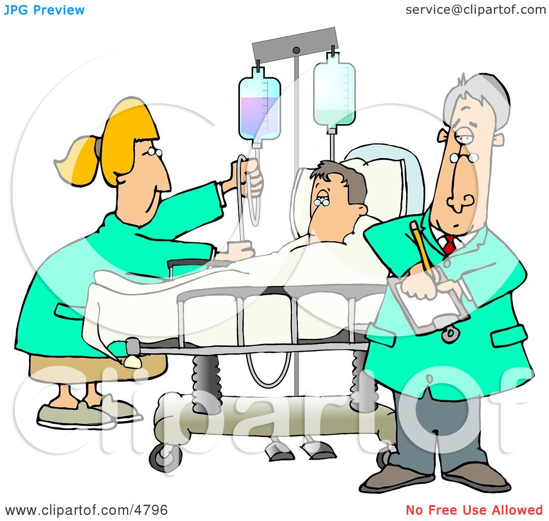 Nurse and Doctor Caring for a Hospitalized Man Attached to an IV.