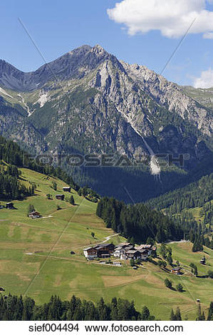 Stock Photo of Austria, Carinthia, Carnic Alps, Lesachtal, village.