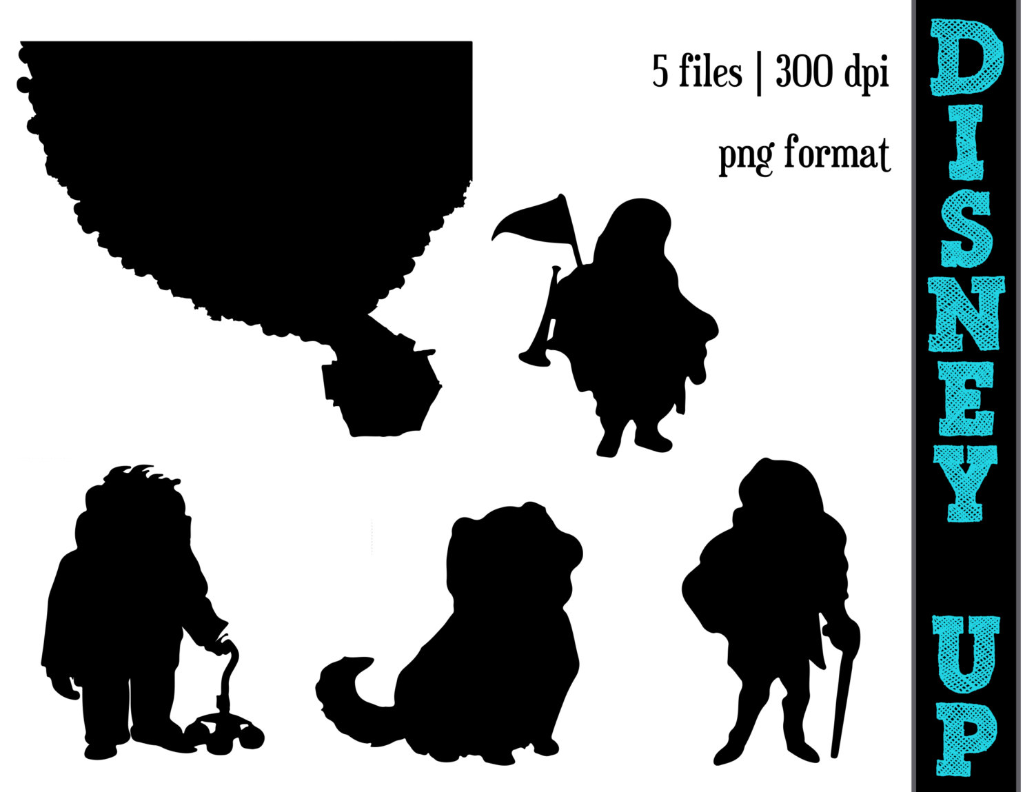 DISNEY's UP Silhouettes // Carl, Charles, Russel, Dug Silhouette.