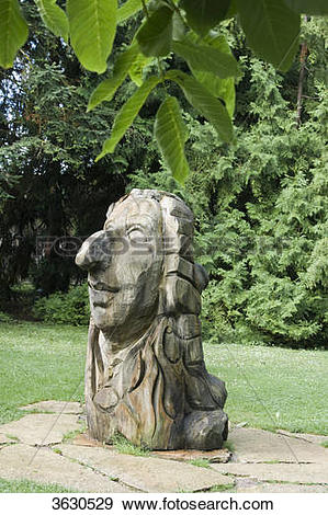 Stock Photograph of Sculpture of Carl von Linné in the botanical.