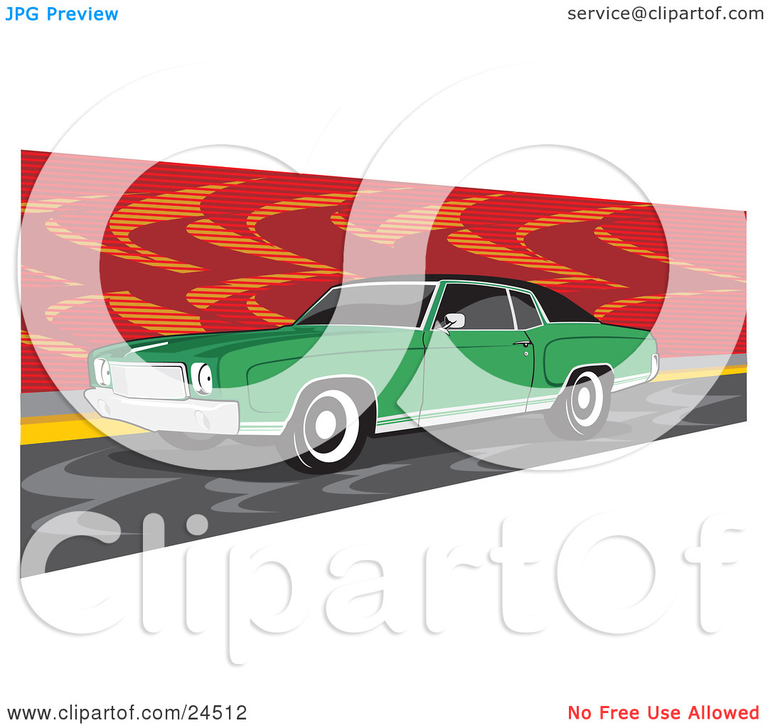 Clipart Illustration of a Green 1970 Chevrolet Monte Carlo Muscle.